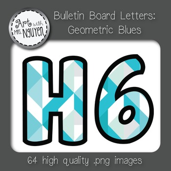 Bulletin Board Letters: Geometric Blues (Classroom Decor)