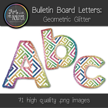 Bulletin Board Letters: Geometric Glitter (Classroom Decor)