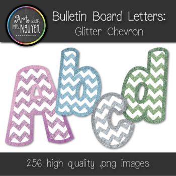 Bulletin Board Letters: Glitter Chevron (Pink, Green, Silv