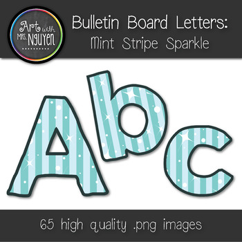Bulletin Board Letters: Mint Stripe Sparkle (Classroom Decor)