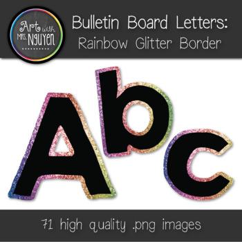 Bulletin Board Letters: Rainbow Glitter Border (Classroom Decor)