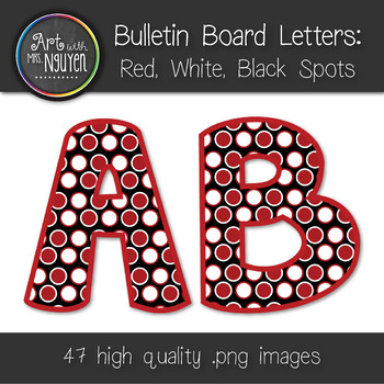 Bulletin Board Letters: Red, Black, and White Dots (Classr