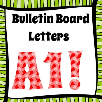 Bulletin Board Letters, Red Wavy Plaid, Print Your Own