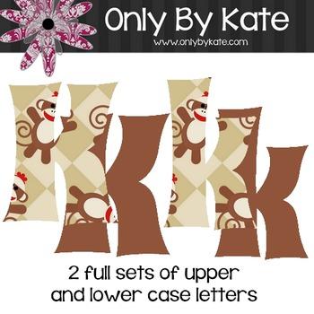Bulletin Board Letters, Sock Monkeys Set 1, Print Your Own