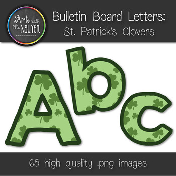 Bulletin Board Letters: St. Patrick's Day Clovers (Classro