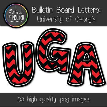 Bulletin Board Letters: Georgia - Red & Black Chevron (Cla