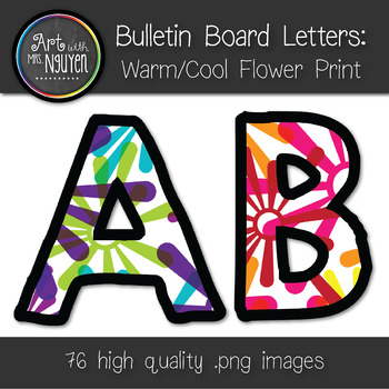Bulletin Board Letters: Warm and Cool Color Flower Print (