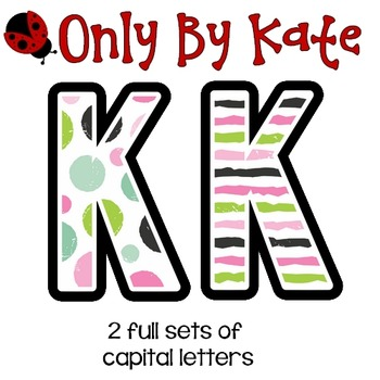 Bulletin Board Letters, Wintery Dots and Stripes, Print Your Own
