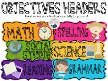 Bulletin Board Objectives Headers