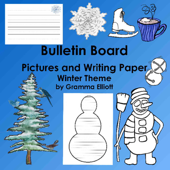 Bulletin Board Pictures and Writing Paper - Winter Theme