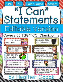 "Editable Bulletin Board STRIPES ""I Can"" Statement Cards {T"