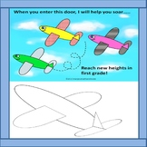 Bulletin Board & Door Decor Set with Airplane/Flight Theme