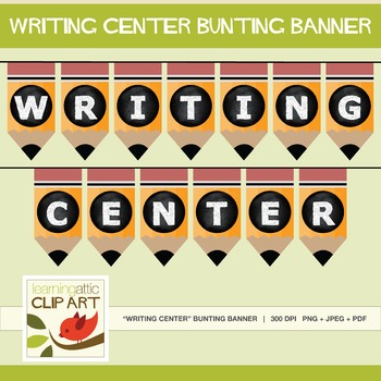 "Bulletin Board - ""Writing Center"" Bunting Banner (Pencil Theme)"