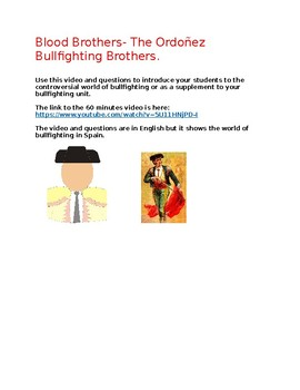 Bullfighting video and questions
