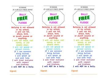 Bully Free Pledge Bookmarks