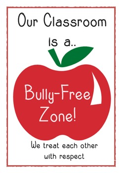 Bully-free zone display poster