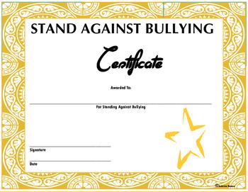 Bullying Certificate
