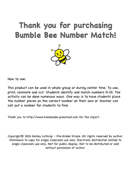 Bumble Bee 0-10 Number Match