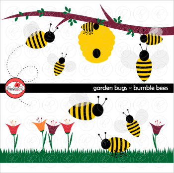 Garden Bug Bumble Bees Clipart by Poppydreamz