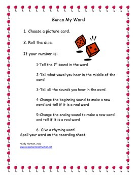 Bunco Word Work Center Games