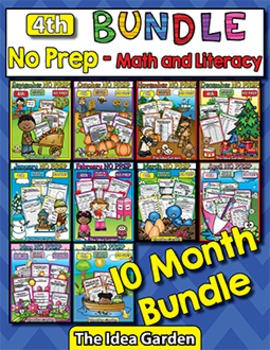 Bundle 10 Months - NO PREP Math & Literacy (Fourth)