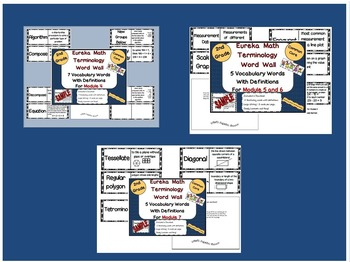 Bundle! 2nd Grade Eureka Math New Terminology Word Wall fo