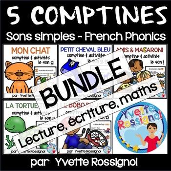 Bundle, 5 comptines avec sons simples (a, e, i, o, u) acti