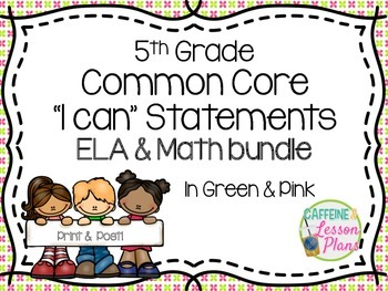 Bundle: Common Core I can statement signs- ELA & Math (gre