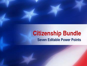 Bundle of 7 - Citizenship - Seven Editable Power Point Pre