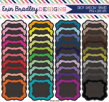 Bundle Clipart - Charcoal Labels with Drop Shadow