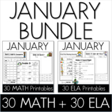 Bundle - Common Core Crunch January - Math & ELA CCSS Printables
