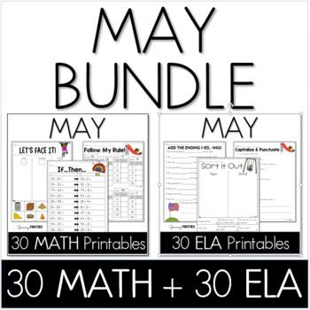 Bundle - Common Core Crunch May - Math & ELA CCSS Printables