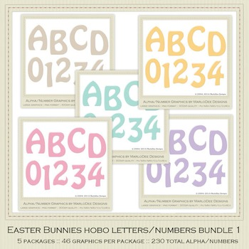 Bundle Easter Bunnies Candy Gloss Alpha Letters & Number Graphics