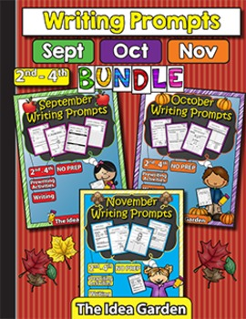Fall Bundle - Writing Prompts NO PREP (Second-Fourth) - Se