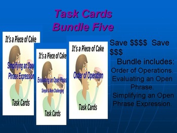 Bundle Five Task Cards: Order of Ops, Eval an Open Phrase,