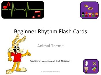 Bundle: Flashcards: Rhythm: Animal Pictures: Traditional a