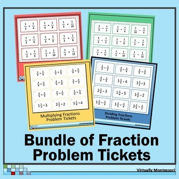 Bundle: Fraction Problem Tickets for All Operations