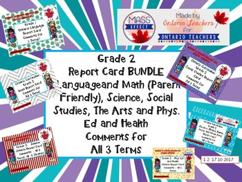Bundle:Grade 2 Comments for  ALL THREE TERMS of Ontario Re