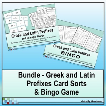 Bundle: Greek and Latin Prefixes Card Sorts and Bingo Game
