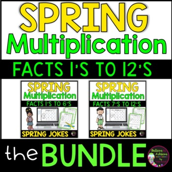 Multiplication Fact Practice 1's to 12's  with Spring Joke