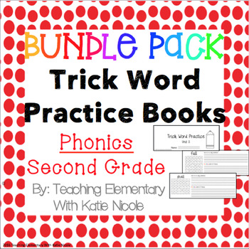 Second Grade Trick/Sight Word Practice Books : ALL 17 Units!