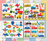 CLIPART BULK PACK -  Transportation / Cars, Trucks & Plane