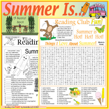 Bundle: Summer Activities & Appreciation Two-Page Activity