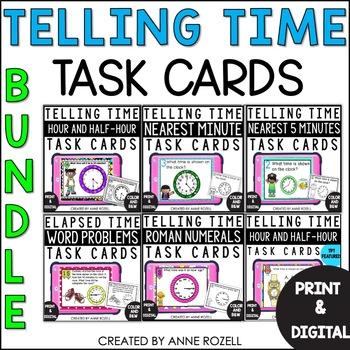 Telling Time task cards- BUNDLE!