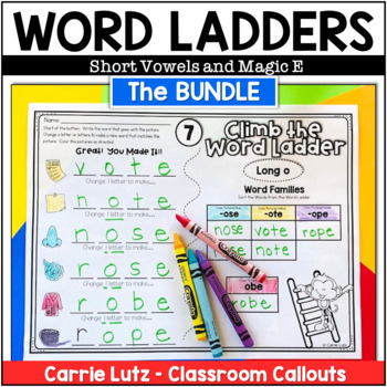 """Bundle Word Ladder Fun with Short Vowels and Magic """"e"""""""