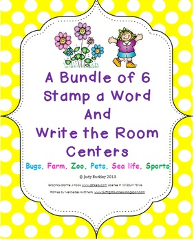 Bundle of 6 Thematic Stamp a Word & Write the Room Centers