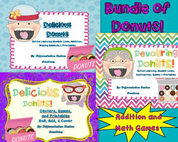 Bundle of Donuts! Addition, Subtraction, Number Lines, Gam