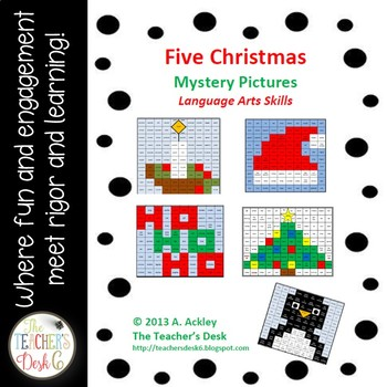 Bundle of Five Christmas Mystery Pictures Nouns, Verbs, Pr