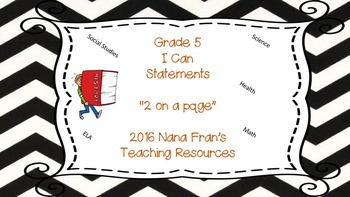 Bundle of Saskatchewan Grade 5 I Can Statement Posters in