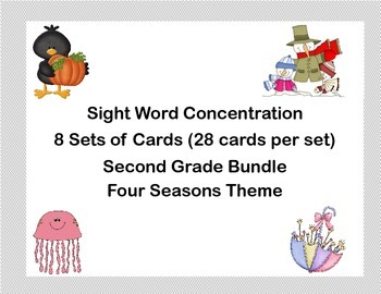 Bundle of Second Grade Sight Word Printable Concentration